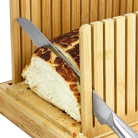 Maison & White Cortadora de pan de bambú | Tabla y guía de cortar | Ajustable, plegable, compacta | Adecuado para panes caseros o comprados