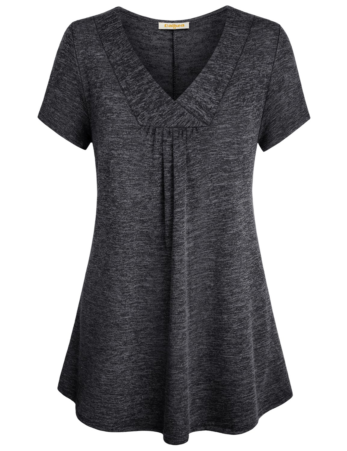 Baikea Dressy Tunic, Ladies Spring V Neck Short Sleeve Work Shirts for Women Office Tops Business Casual Blouse Drape Solid Color Fit Flare Grey Loose Tunic Shirt,  X-Large (US 14)