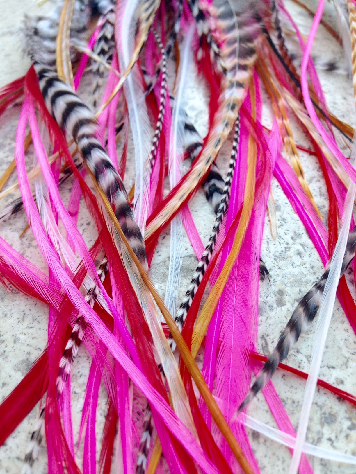''Pinky'' Bohemian Feather Hair Extensions. 13 Pcs. Kit. Beautiful 100% real feathers