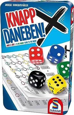 Schmidt Spiele 51426 Knapp Daneben - Juego de Dados en Caja de Metal, Multicolor: Amazon.es: Juguetes y juegos