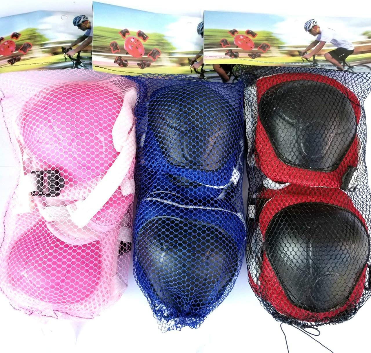 Pink Jasnyfall Sports Protective Clothing Children Skateboard Protective Suit Adult Skates Hand Guard Bicycle Skating Knee Pads