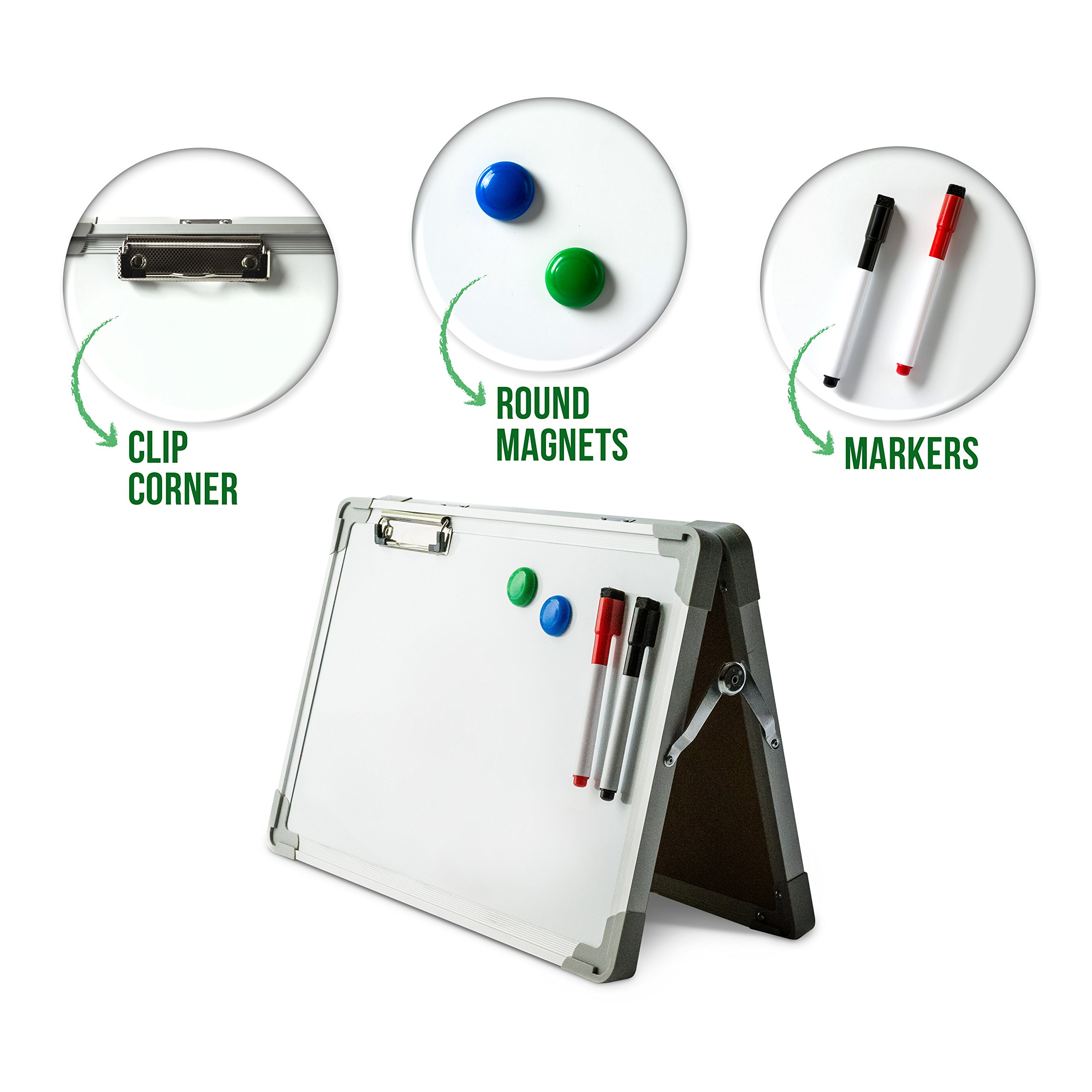 Ibex DryErase Desktop Whiteboard Easel: Magnetic Tabletop Double Sided Non Ghosting White Board, Portable Erasable Whiteboards with Paper Clip, 2 Magnets & 2 Color Markers with Eraser Tip