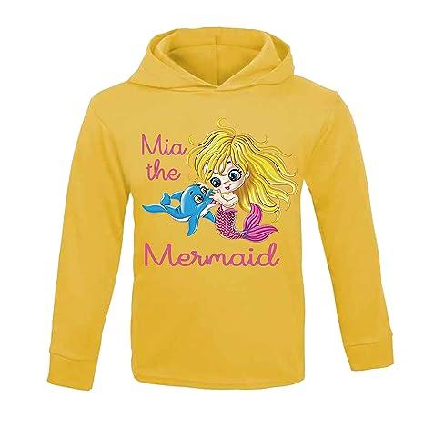 Sudadera con capucha personalizable con nombre de la sirena, para niños, material ligero,