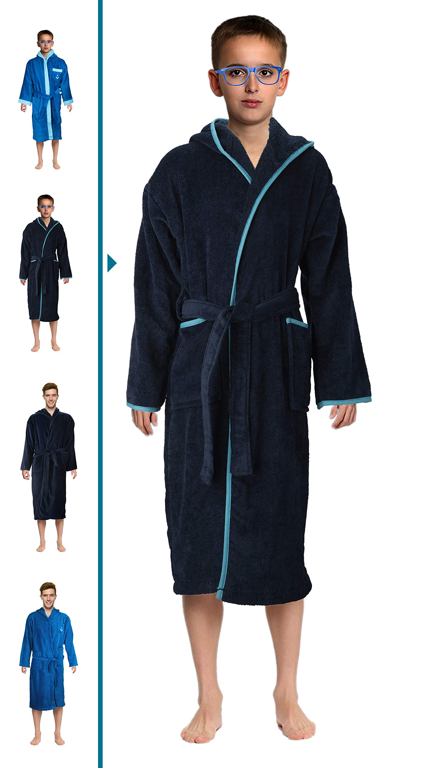 Bath Robe Men's/Boys 100% Cotton Bathrobe Long Hooded Bathrobe 100% Absorbent Cotton Terrycloth Inside And Velour Finishing Outside With 2 Pockets by Abstract