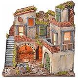 Borgo presepe napoletano stile 700 con pozzo e luce 45x55x38