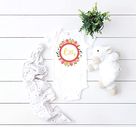 64d4ff520 Amazon.com: Baby Name Personalized Floral Wreath Baby Bodysuit, Boho Baby  girl Onesie, pretty onesie, cute onesie: Handmade