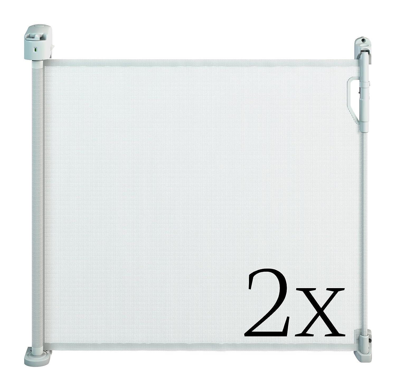 Gaterol Active Pro Weiß Doppelpack – Zwei schicke ausziehbare Treppenschutzgitter und Türschutzgitter Rollo mit Quick Pass und Verschlussautomatik bis 120cm