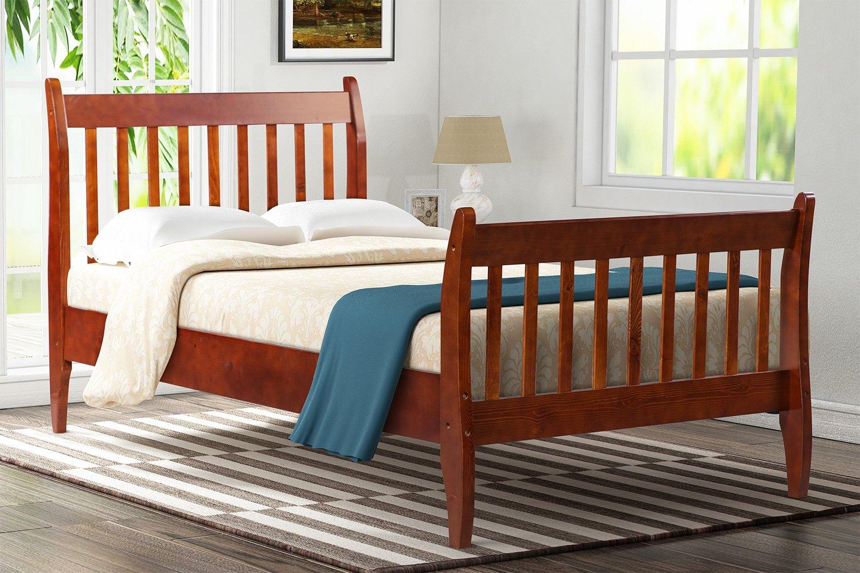 Merax with Wood Slat Support, Twin (Walnut.) Platform Bed Frame Mattress Foundation by Merax (Image #1)