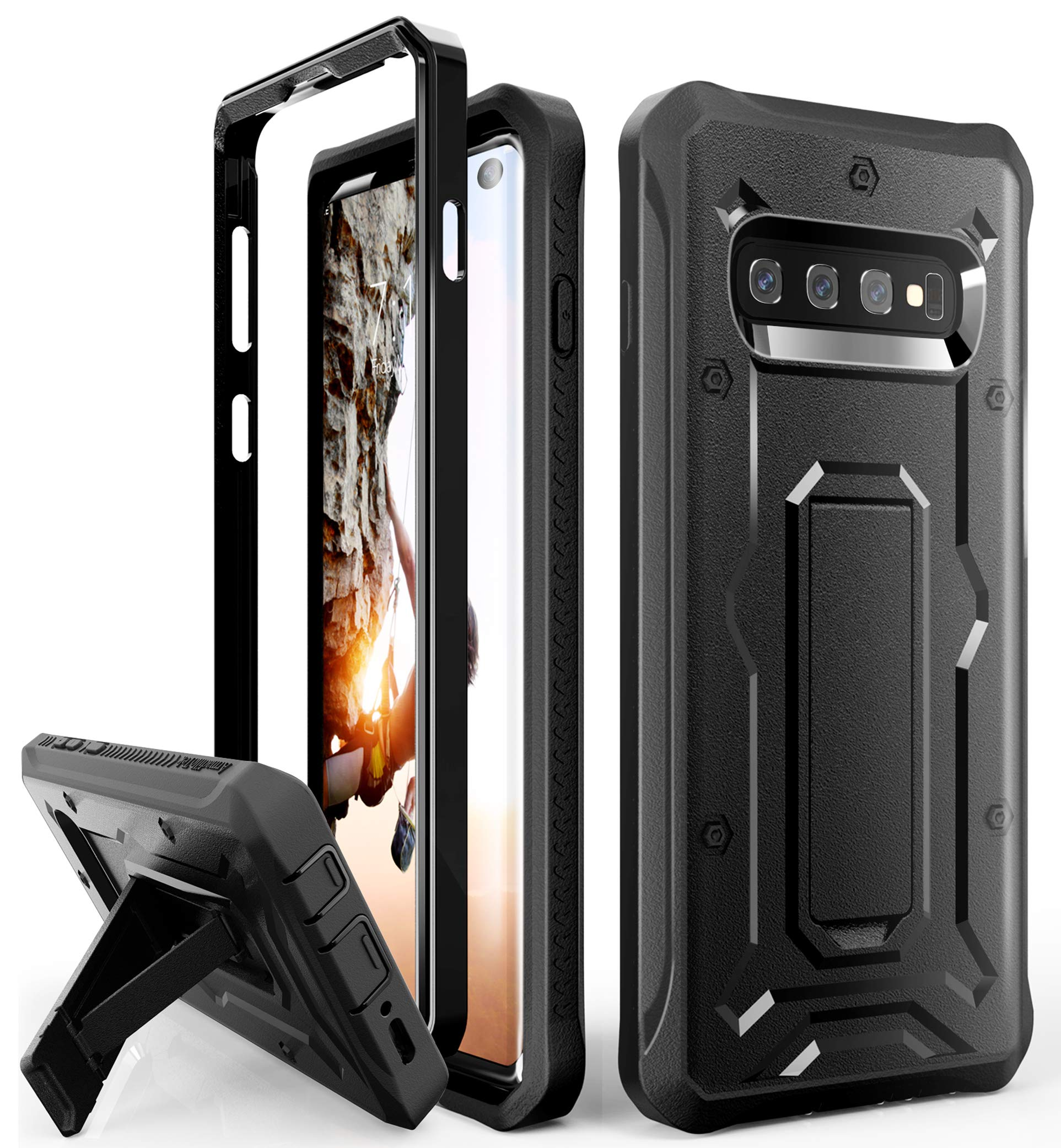 ArmadilloTek Vanguard Designed for Samsung Galaxy S10 Case (2019 Release) Military Grade Full-Body Rugged with Kickstand Without Built-in Screen Protector (Black) by ArmadilloTek