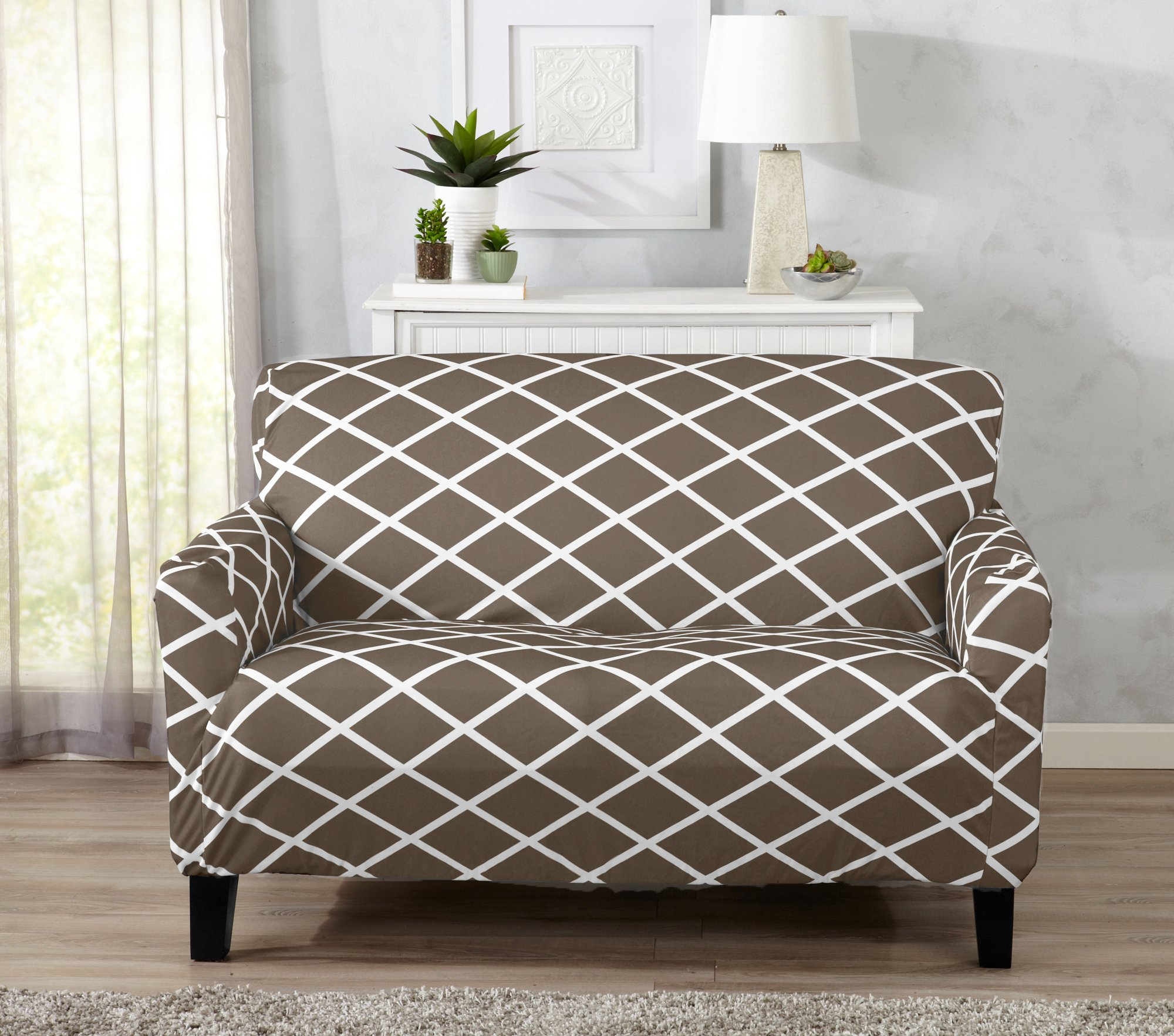 Great Bay Home Strapless Stretch Printed Slipcover Loveseat Cover, Stain and Spill Resistant. Tori Collection (Love Seat - Mocha)