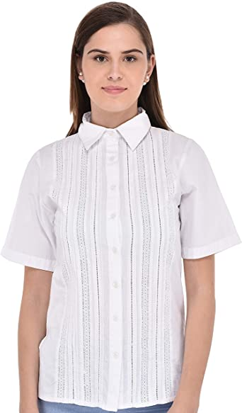 Cotton Lane White Crisp Cotton Casual Shirt