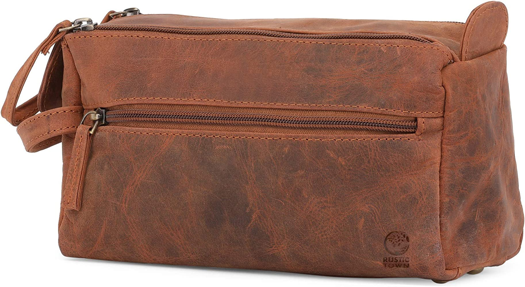 2968ffeaf703 Leather Toiletry Bag for Men - Hygiene Organizer Travel Dopp Kit By Rustic  Town
