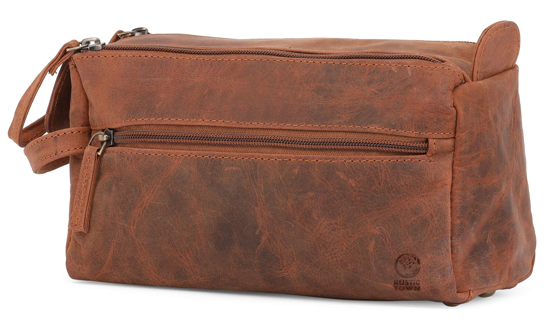 Genuine Leather Travel Toiletry Bag - Hygiene Organizer Dopp Kit By Rustic Town (Brown) by Rustic Town