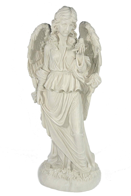 Casa Collection 10940 Engel stehend, hält Vogel in der linken Hand, Höhe 68 cm, antikweiß