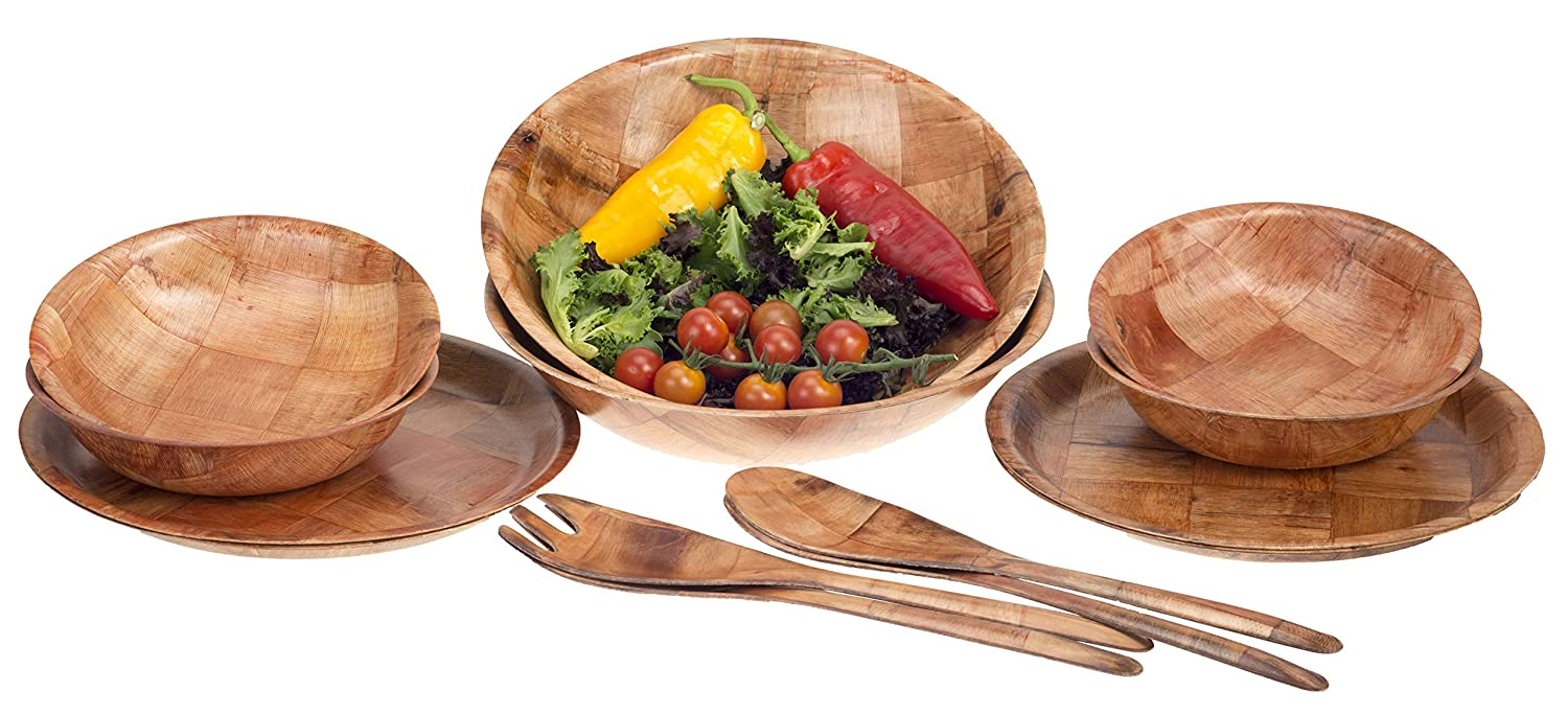 Brokson 14-Piece Bamboo Round Salad Bowl Set with Bowls and Serving Utensils Brokson Arts & Crafts