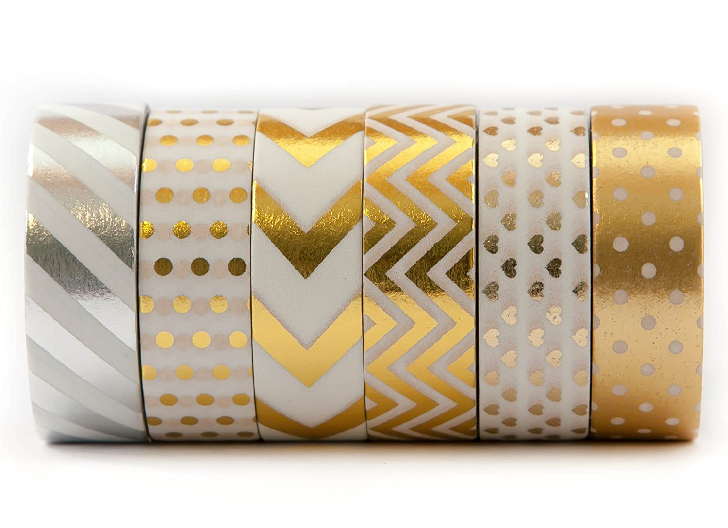 6 Rolls Of Gold Washi Colored Decorative Masking Tape