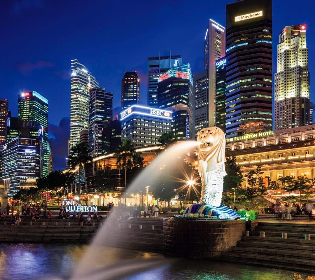 街の灯り Qhd 1080 960 シンガポールの高層ビルとマーライオン その他 スマホ用画像