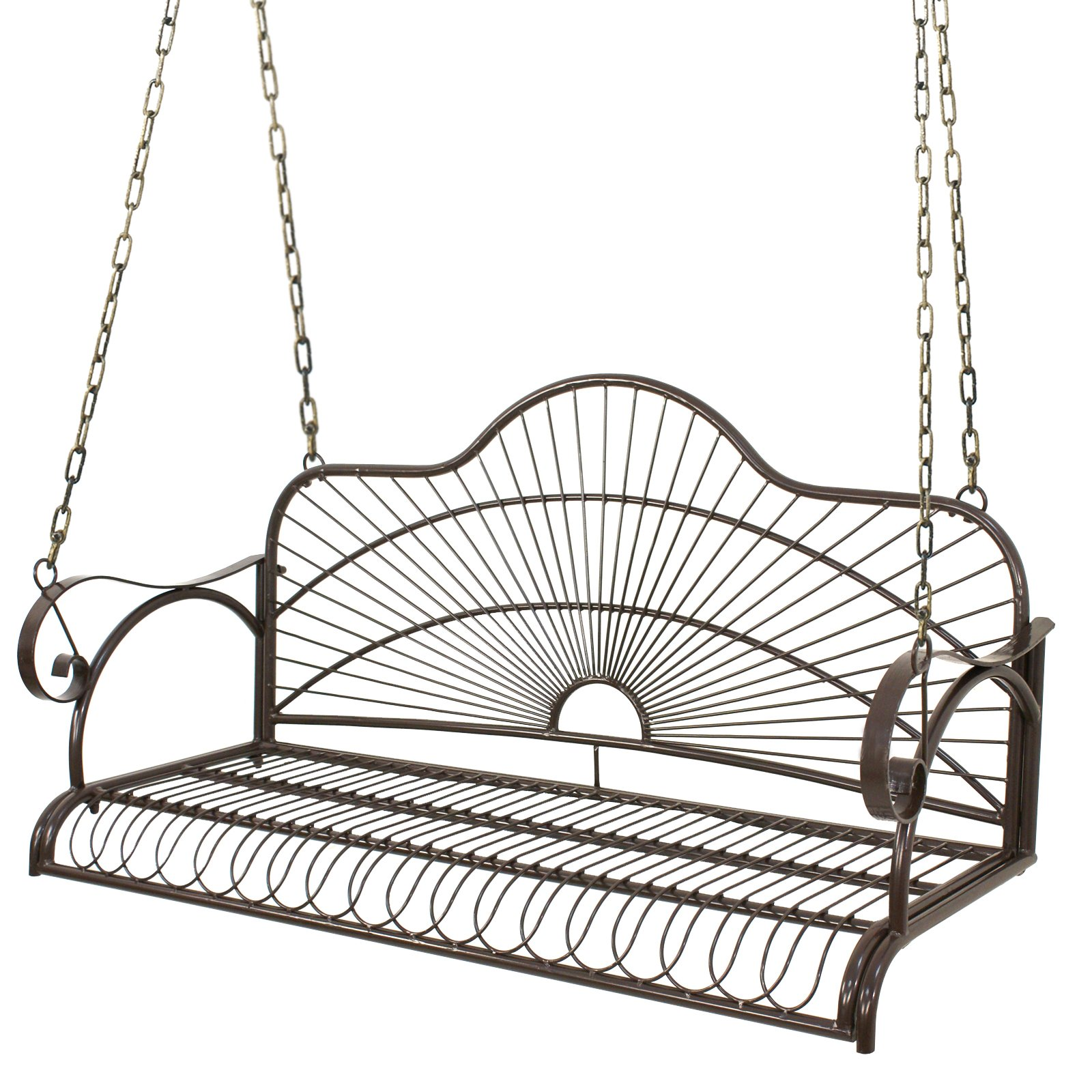 Smartxchoices Steel Hanging Porch Patio Swing Seat Heavy Duty Swing Chair with Arms for 2 Persons Outdoor, Garden Yard, Lawn, Deck, Powder Coated Rustic Deck Furniture