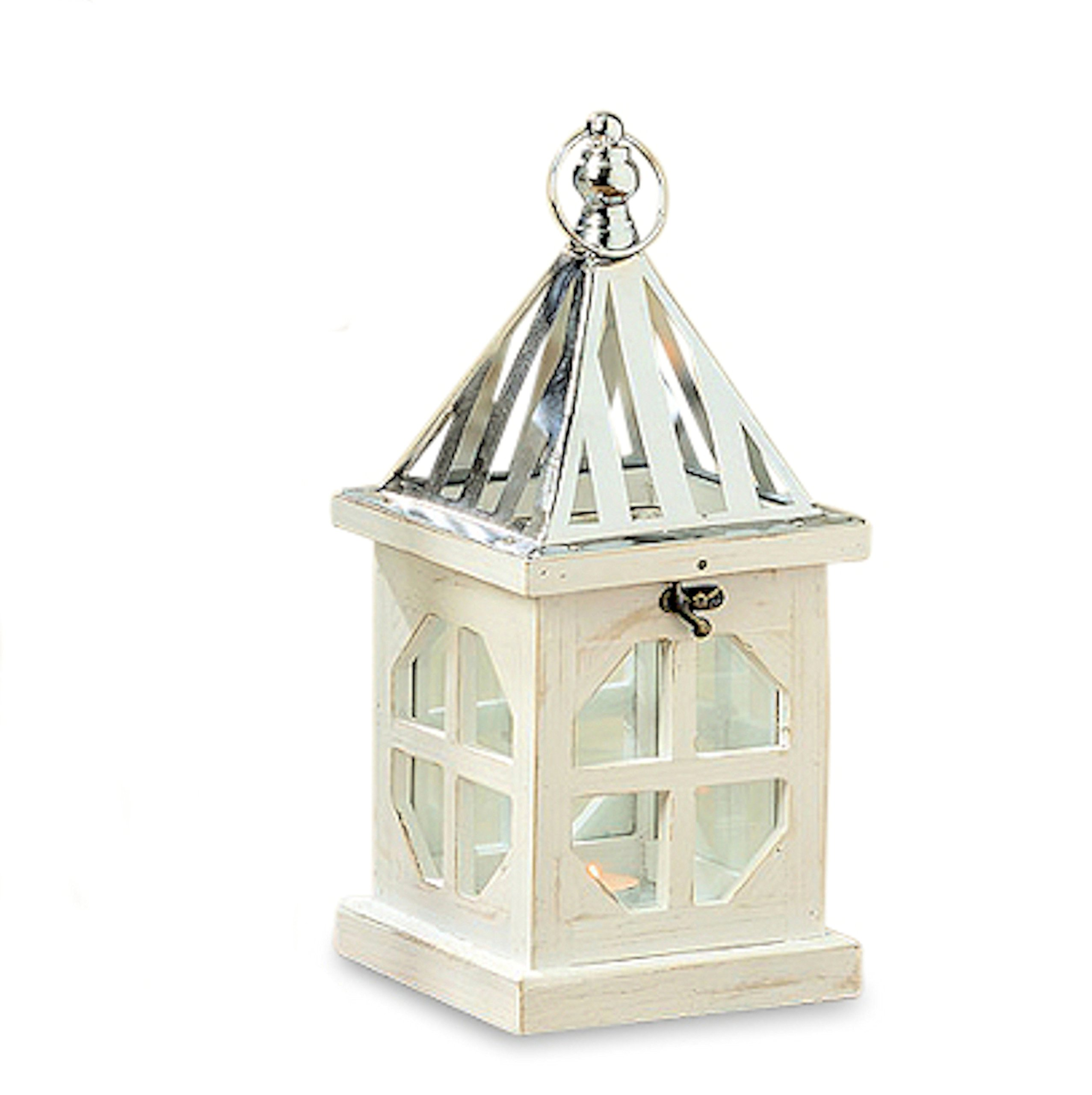 Whole House Worlds The Crosby Street Cross Post Candle Lantern, Silver Metal Slated Roof, Top Opening, Swing Latch, Hanging Loop, Solid Wood Construction, Glass, 13 Inches Tall, By