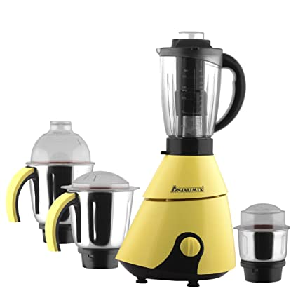 ANJALIMIX Juicer Mixer Grinder INSTA 750 WATTS With 4 Jars (Yellow & Black), DRY, WET, CHUTNEY, FILTER JUICER