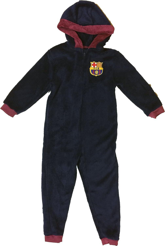 Boys Official FCB Barcelona Football Club Fleece 1Onesie All In One Age 3-4