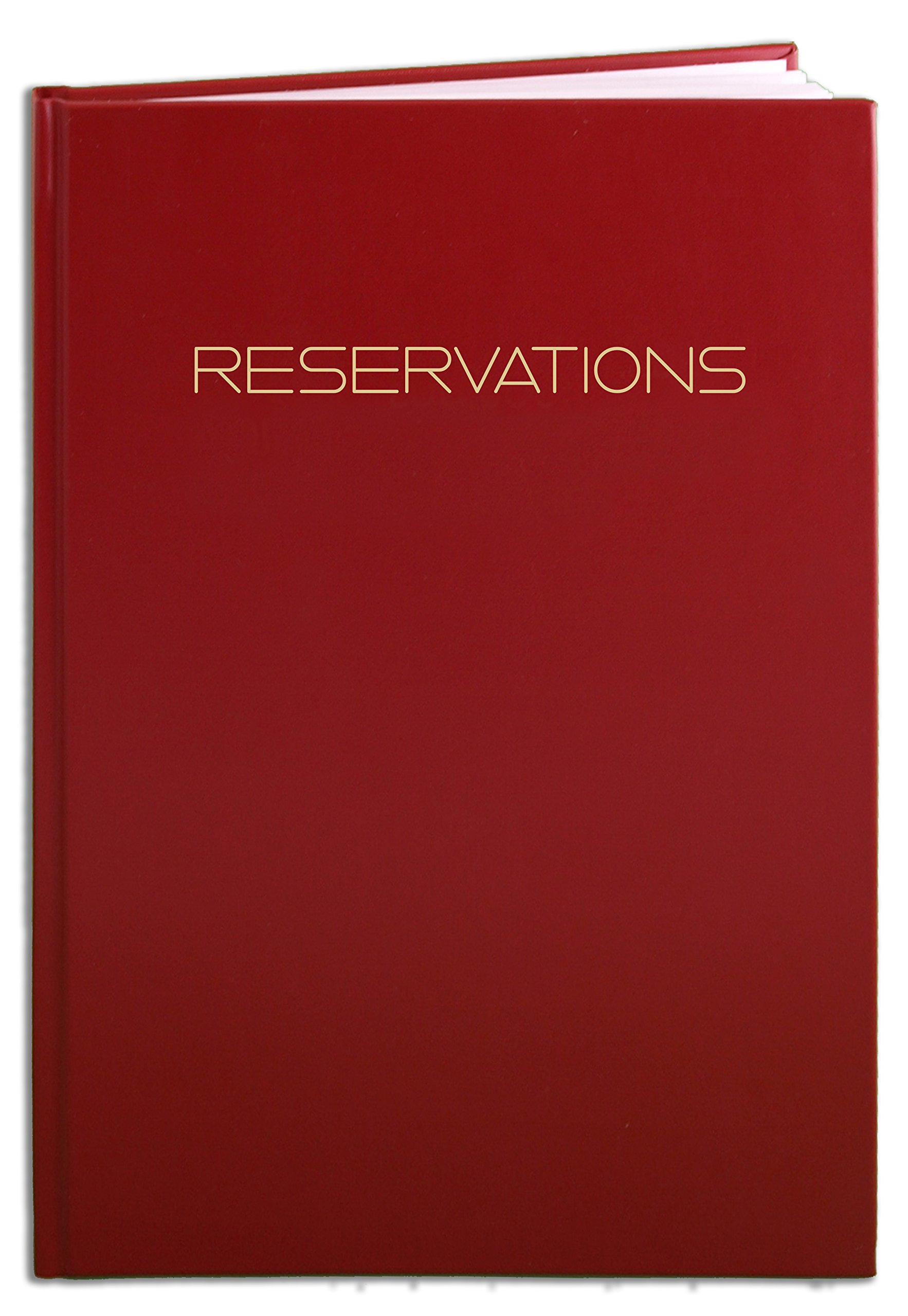 BookFactory Reservations Book, Restaurant Reservation Book, 365 Day Table Reservations, Dinner Reservations, 408 Pages, 8 7/8'' x 13 1/2'' Red Imitation Leather, Smyth Sewn Hardbound (LOG-408-OCS-A-LRT7