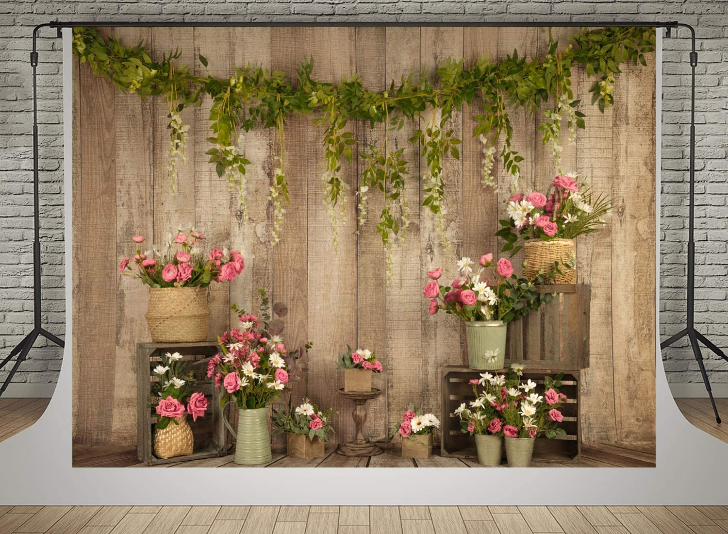 10X5FT-Happy Valentines Day Rose Photography Backdrops Wood Party Decoration Photo Studio Background