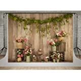 Kate Vinage Wood Wall Photography Backdrops 7x5ft Pink Flowers Decoration Valentine's Day Background Photo Children Baby…