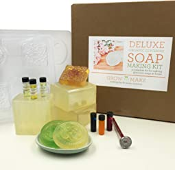 Grow and Make DIY Deluxe Organic Soap Making Kit - Learn how to make home made soaps