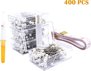 "Firefly 400 Pcs White Color Straight Pins 1.5"" Pearlized Ball Head for Sewing Quilting and Craft Decoration"