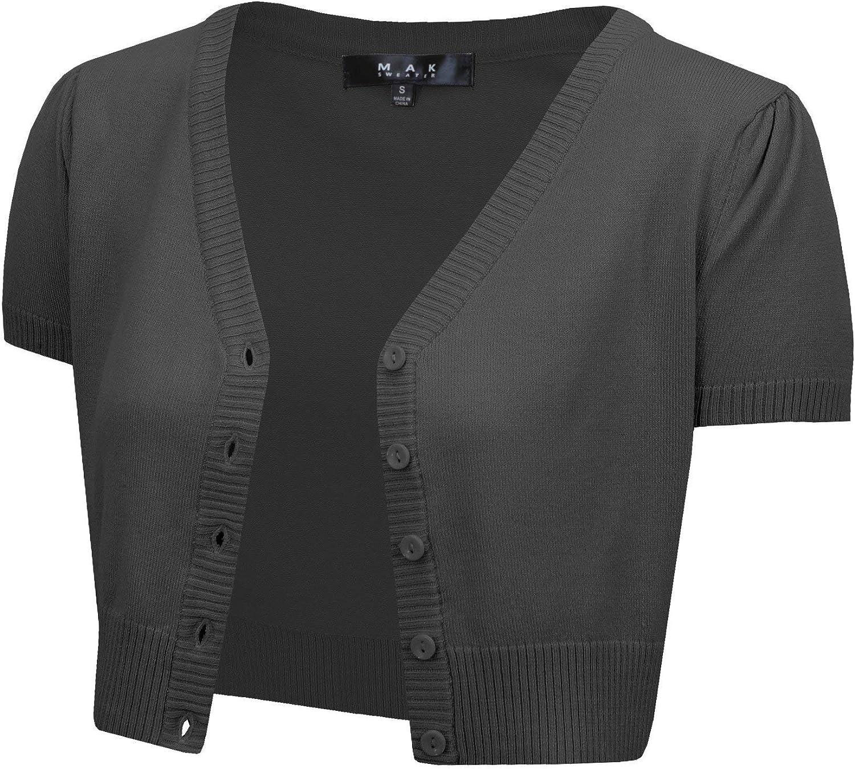 YEMAK Womens Short Sleeve Cropped Bolero Button Down Cardigan Sweater S-4X