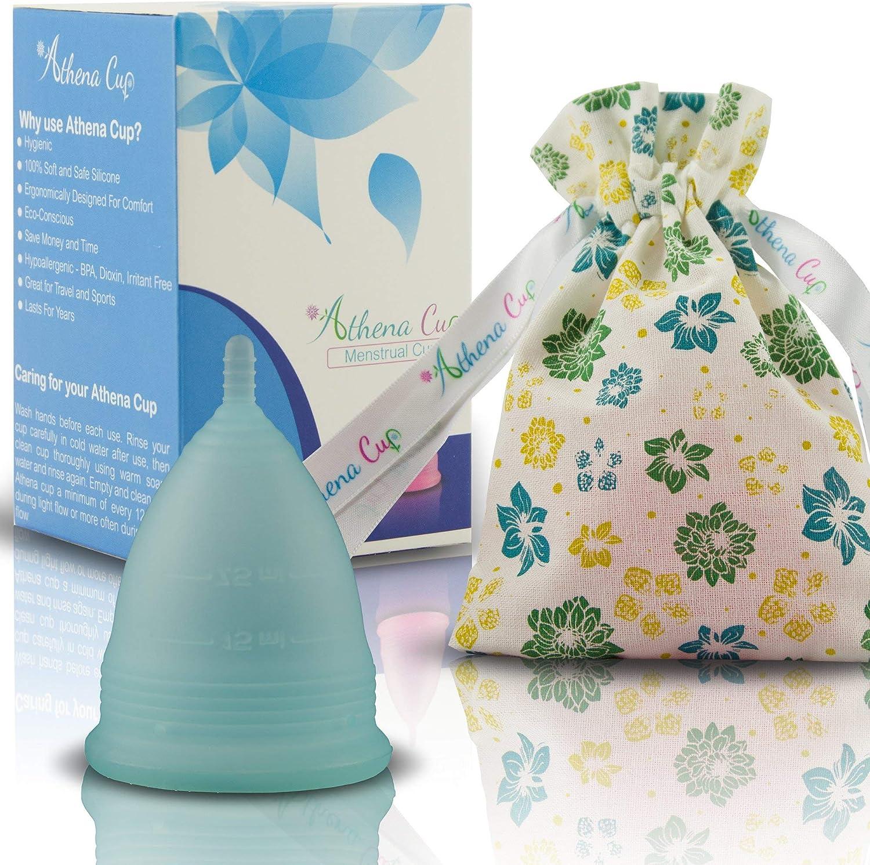 Athena Copa Menstrual – La copa menstrual más recomendada - Incluye una bolsa de regalo - Talla 2, Azul transparente - ¡Ausencia de pérdidas ...