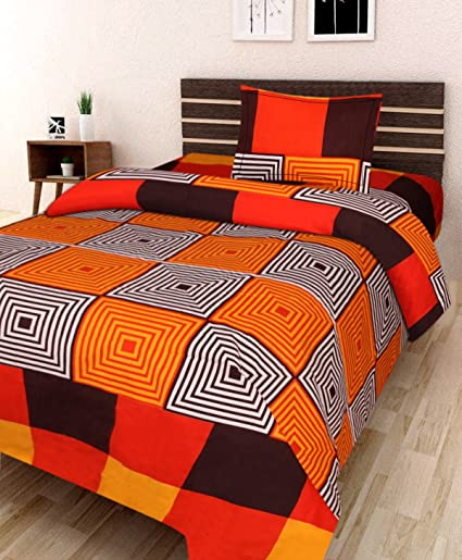 Amayra Home 180 TC Microfibre Single 3D Luxury Bedsheet with 1 Pillow Cover - Geometric, Orange