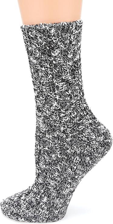Womens Classic Socks Crew Lightweight Cotton Cable Knitting Dri-Tech