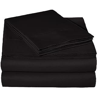 "AmazonBasics Lightweight Super Soft Easy Care Microfiber Bed Sheet Set with 16"" Deep Pockets - King, Black"