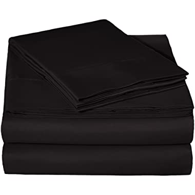 AmazonBasics Microfiber Sheet Set - Queen, Black