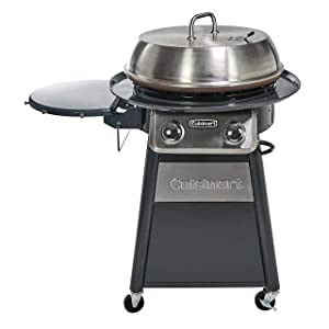 Cuisinart CGG-888 Grill Stainless Steel Lid 22-Inch Round Outdoor Flat Top Gas Griddle Cooking Center, 360