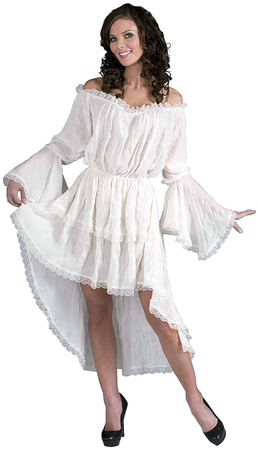 Women's Ruffled White Gauze Hi-Low Lace Pirate Chemise - DeluxeAdultCostumes.com