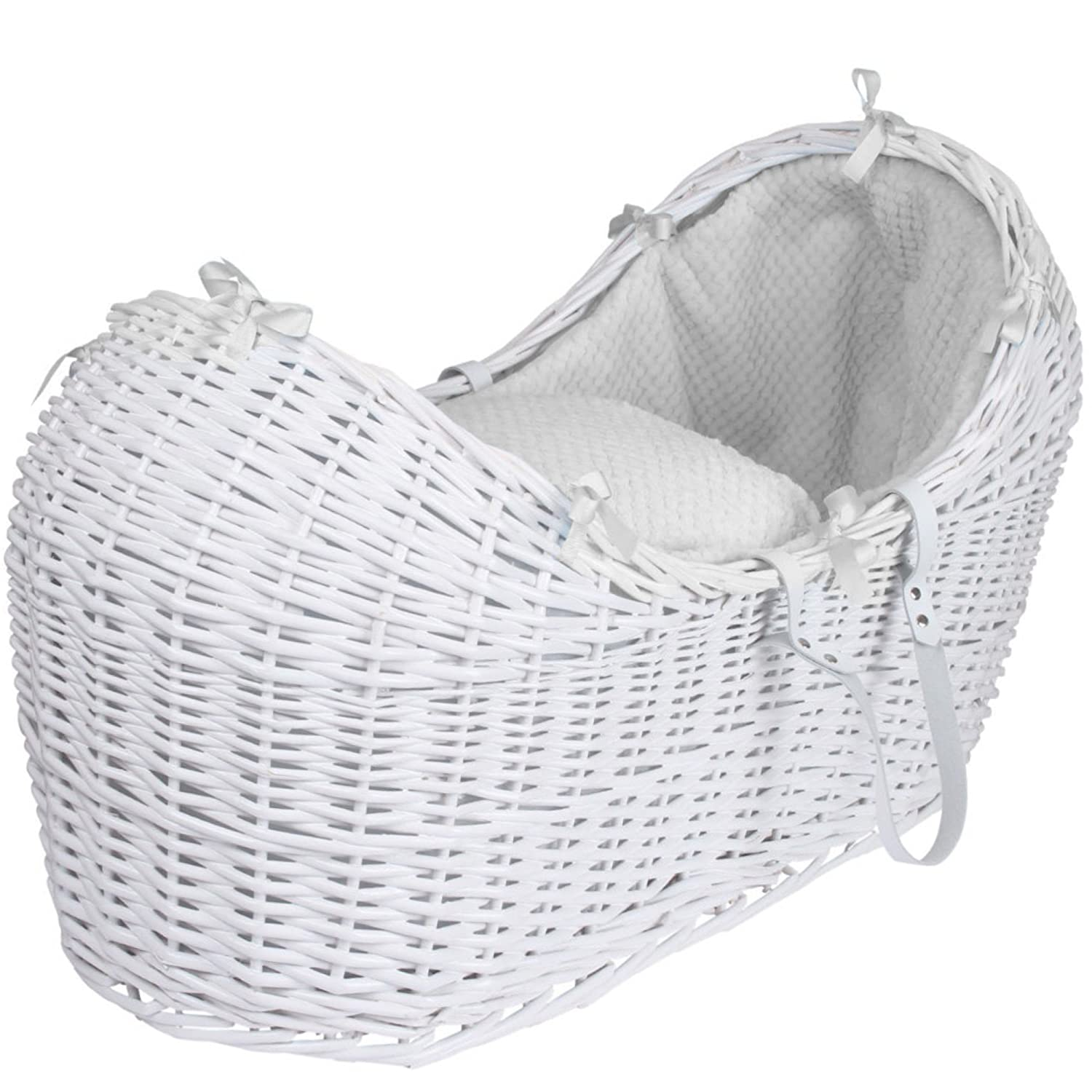 White Dimple White Wicker Moses Basket Pod And White Rocking Stand For-Your-Little-One