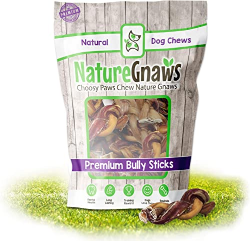 Nature Gnaws Braided Bully Stick Bites – Premium Natural Beef Chew Treats – Rawhide Alternative – Simple Single Ingredient Chews for Small Dogs