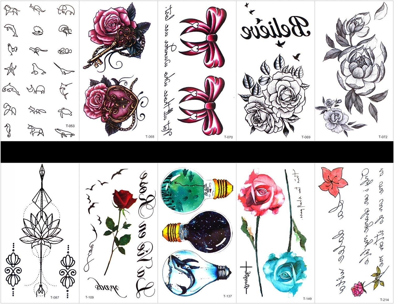 Interookie - 10 pegatinas de tatuaje falso, tatuajes temporales de ...