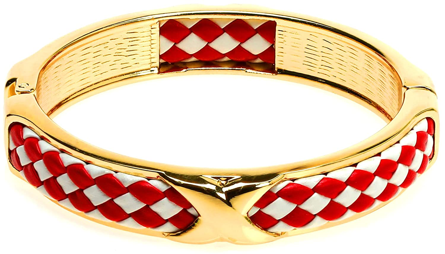 Red and White Braided Leather Hinge Metal Bangle Bracelets Set of 2 Lova Jewelry Black and White