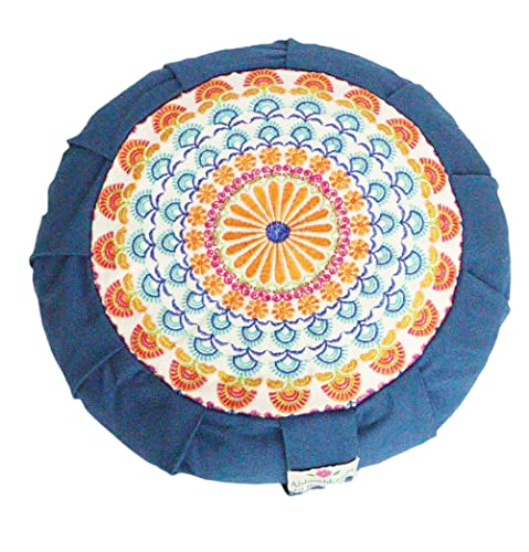 Amazon.com: Embroidered Round Zafu Buckwheat Yoga Pillow ...