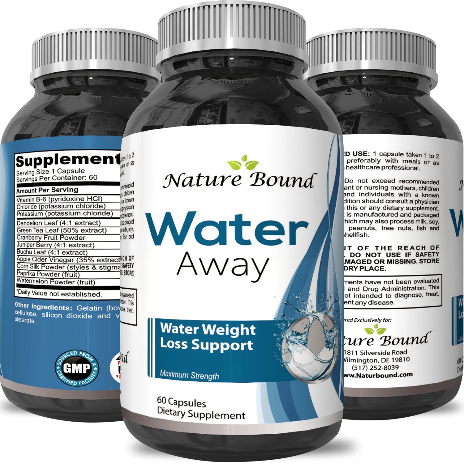 Nature Bound Water Away Pills with Dandelion - Pure Diuretic Supplement for Water Retention Bloating Relief - Best Weight Loss with Green Tea Potassium - Supplement for Men and Women 60 Capsules by Nature Bound