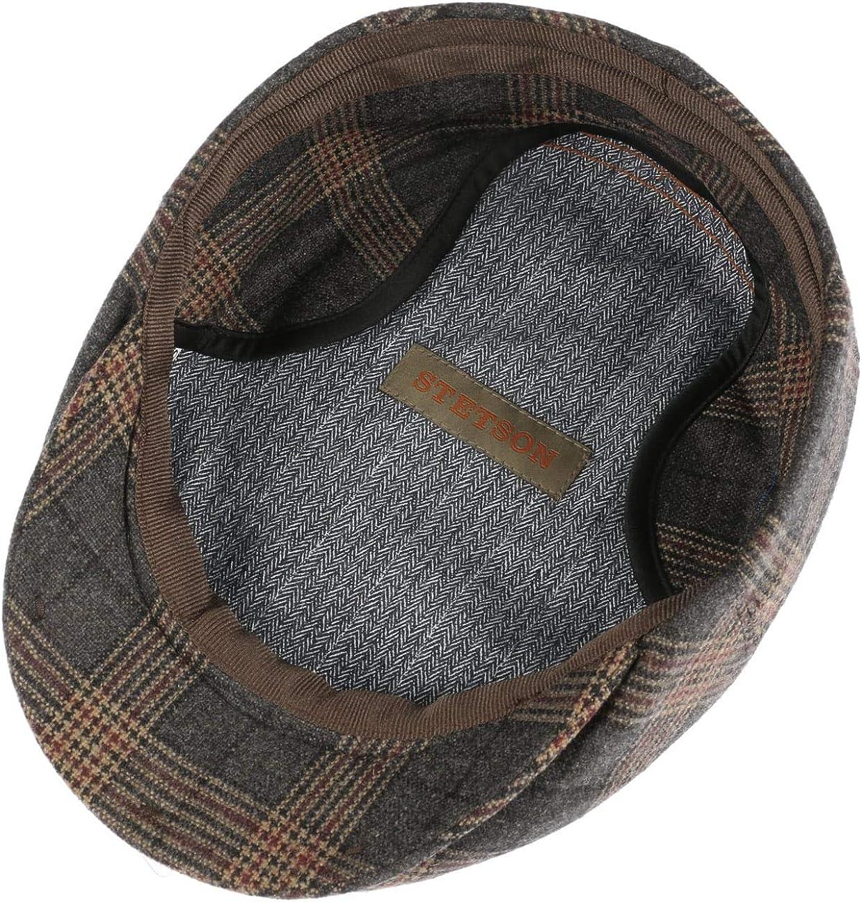 Pelle Autunno//Inverno Made in The EU Cappello Piatto Visiera Fascia Pelle Stetson Coppola con Paraorecchie Kent Check Uomo Fodera