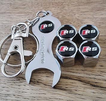Audi RS rueda polvo tapas para válvulas con llave cromado: Amazon.es: Coche y moto