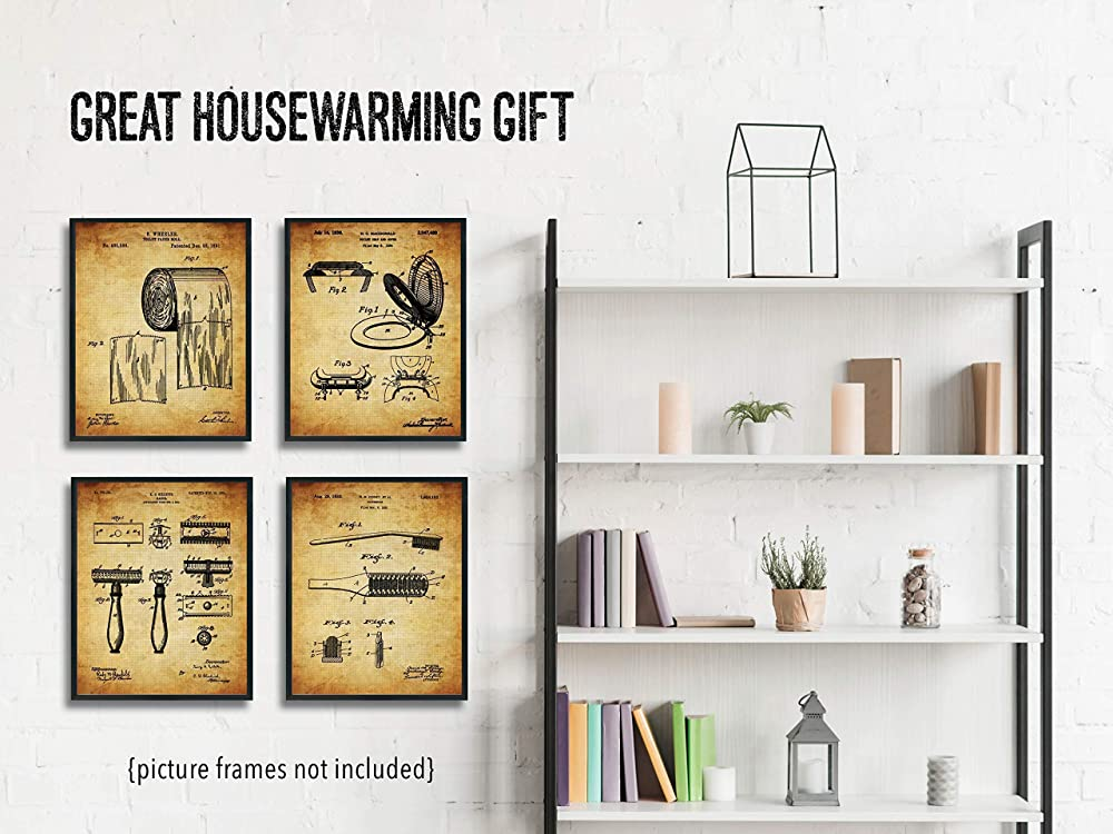 8x10 Unframed Vintage Photos Great Housewarming Gift For Rustic Bathroom Decor Original Bathroom Patent Art Poster Prints Four Set Of 4 Handmade Products Home Kitchen
