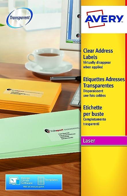 Avery España L7562-25. Caja de 400 Etiquetas Adhesivas Transparentes 99.1x33.9mm: Amazon.es: Oficina y papelería