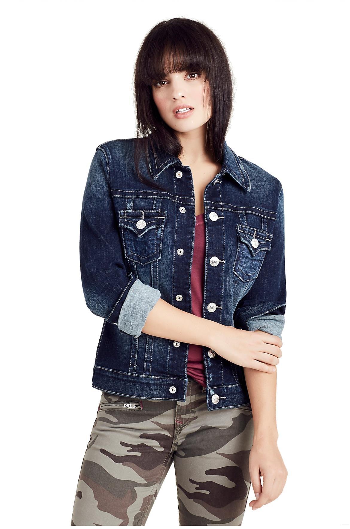 True Religion Women's Denim Trucker Jacket in Autumn Nights (Large)