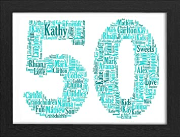 50th Birthday UPK Gifts Personalised Word Art Gift Keepsake Any Age 50 1st 16th 18th 21st